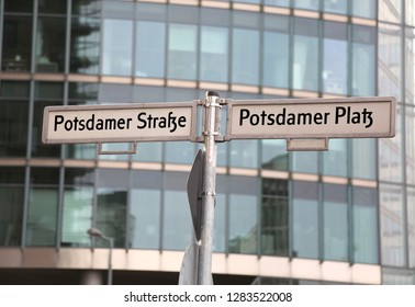 road name with text Potsdamer Strasse and Platz that means PotsDam street and square in Berlin in Germany