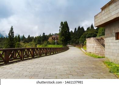 The road near Alishan train station. -  Alishan National Forest Recreation Area in Chiayi County, Alishan Township, Taiwan.