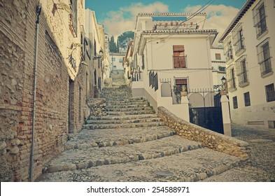 Road up to the neighborhood of albaic�n in Granada