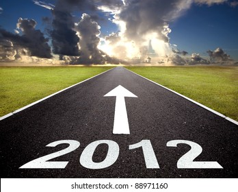 road to the new year 2012 and sunrise