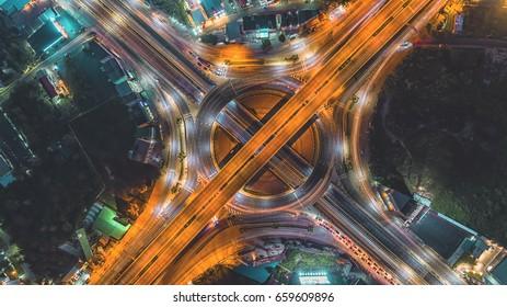Road at night / City scape Bangkok / Circle road