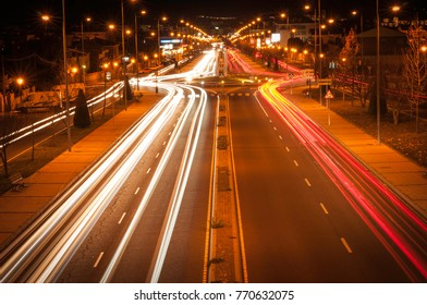 road at night, roundabout