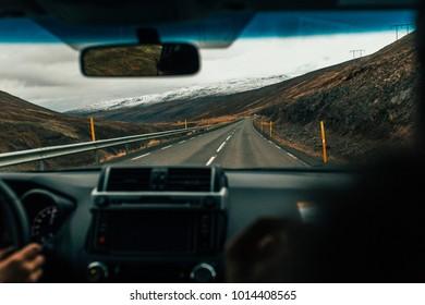 Road north trip by car