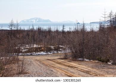 Road in the northern region, Magadan