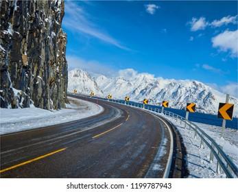 Road in Norwegian fjord. Lofoten islands, Norway