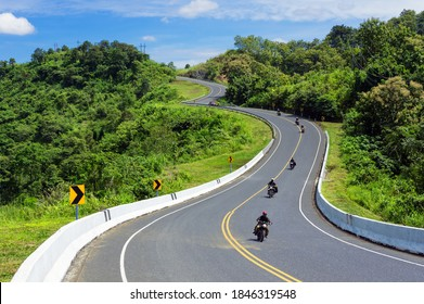 Road number 3 or the beautiful sky road above the mountain peak where tourists' motorcycles roaming the mountain in Nan Province, Thailand.