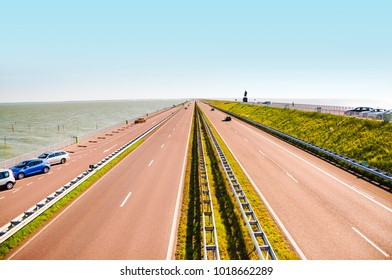 Road on Afsluitdijk dam in the Netherlands