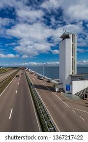 Road on Afsluitdijk dam in Netherlands - architecture background