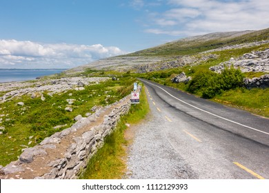 Road on Burren National Park in County Clare - Ireland