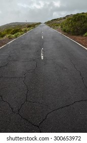 Road on Cloudy Day in El Teide National Park Tenerife Canary Islands Spain