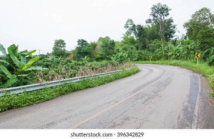 Road on county way go to Chinagrai, Thailand.