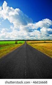 road on a field