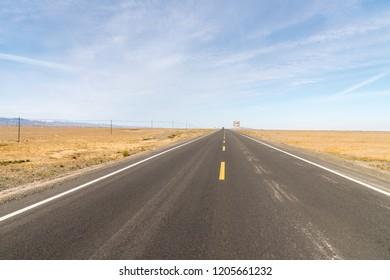 road on gobi, highway through the desolate land