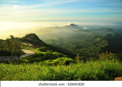 The Road on Green Mountain Landscape in Thailand