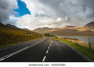 Road on Isle Of Skye Scotland, Dramatic clouds