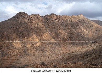 The road on a mountain slope, Betancuria, Fuerteventura, Canary Islands, Spain