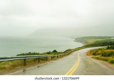 Road on the northern tip of Cape Breton island near Meat Cove, Nova Scotia, Canada