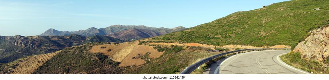 Road on the west coast of Crete island, Greece