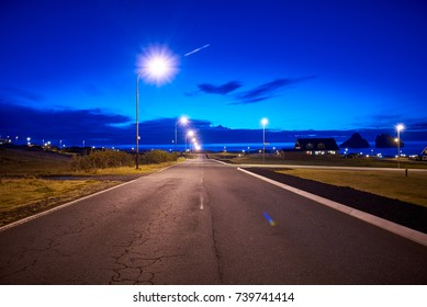 Road on the Westman islands in Iceland at night