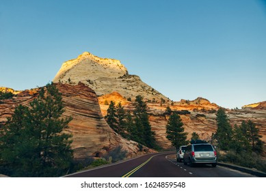 road on Zion National Park in southwestern Utah near the town of Springdale, USA - DECEmber, 2019