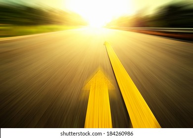 Road With Painted Yellow Line.