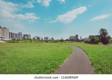 road in park with beautiful cityscape background
