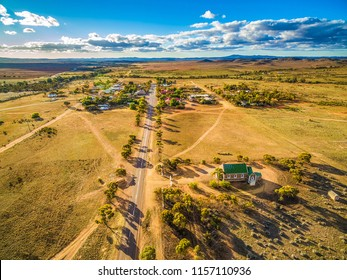 Road passing through Carrieton - small township in South Australia - aerial landscape