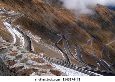Road at passo dello stelvio Italy.