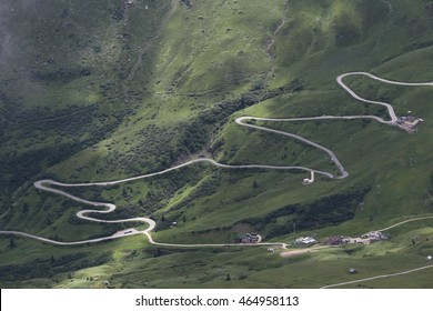 road at Passo Pordoi, Dolomites, Italy