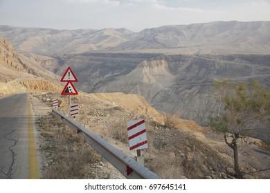 Road to Petra, early morning, Amman, Jordan, mountains, valley.