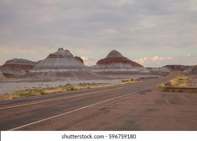 Road to Petrified Forest National Park. Arizona. USA.