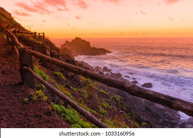 Road to Playa Nogales at sunset, la Palma, Canary islands, Spain