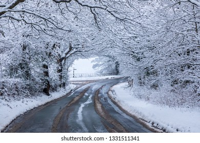 Road to Pott Shrigley in Cheshire in snow curving though an arch of snow covered woodland trees.  The snow is sticking to every branch and twig.  A glorious still winter scene.