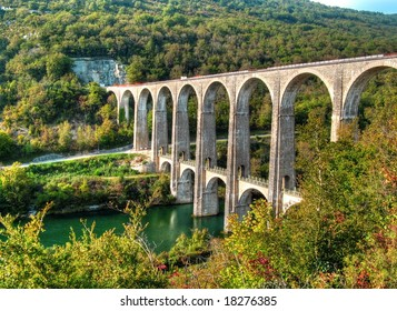 Road and railway viaduct of Cize Bolozon, Ain, France