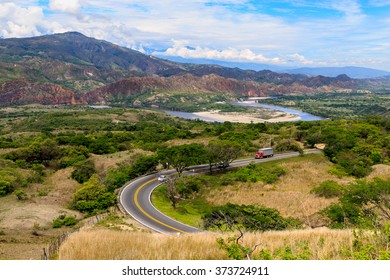 road in red and green mountains, colombia, latin america