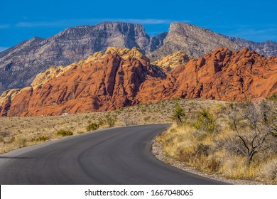Road in Red Rock Canyon in Nevada Las Vegas area