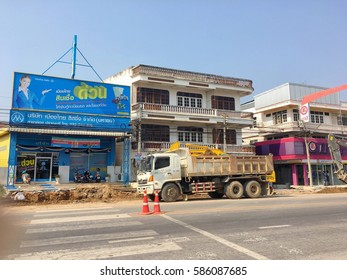Road repair construction in Hua Hin, Thailand February 2,2017