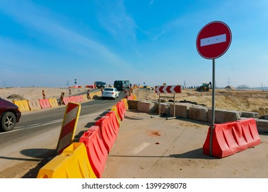 road repair, expansion and improvement of the road network, construction of a road junction, Guryev district, Kaliningrad region, Russia, March 30, 2019