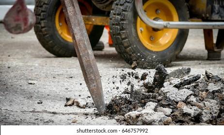 Road Repairing Works with Jackhammer