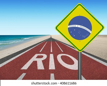 """Road to Rio with brazilian flag sign """"Order and Progress"""" in English at the beach"""
