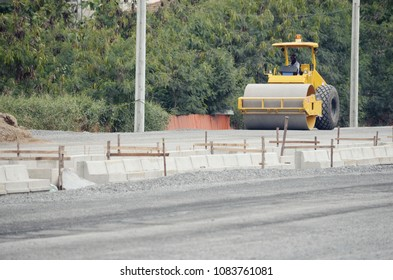 road roller at road construction site