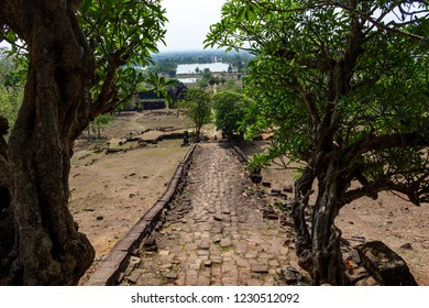 Road to the ruins of the Vat Pou Khmer temple, nouned world heritage by UNESCO and also know as the small Angkor Wat