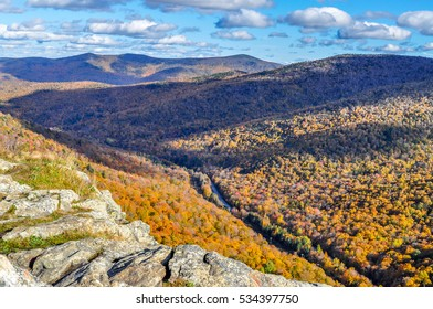 A road runs trough the autumn colored trees of the Brandon Gap in Vermont.
