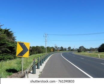 Road safety barriers on country road in Victoria, Australia