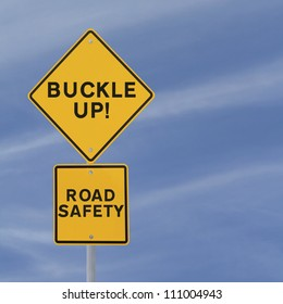 Road safety reminder against a blue sky background with copy space