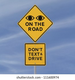 Road safety sign (against a blue sky background)