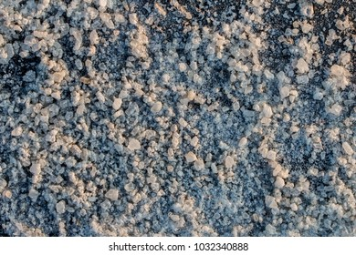 Road salt crystals detailed close up texture pattern background