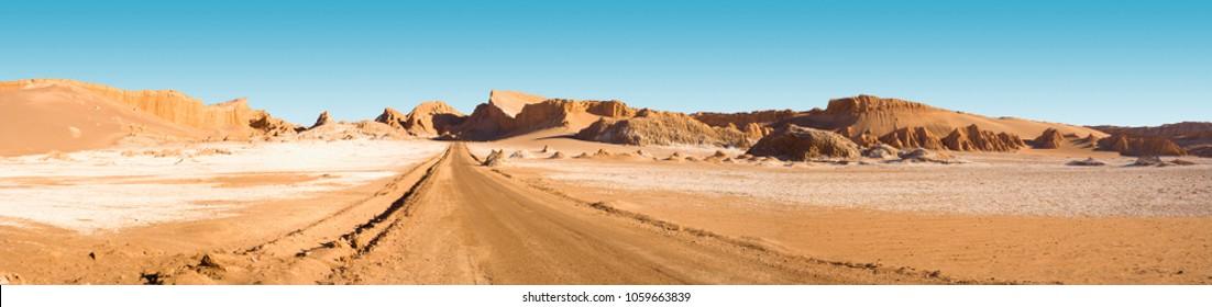 Road and salt formations at Valle de la Luna?� (spanish for Moon Valley), San Pedro de Atacama, Los Flamencos National Reserve, Atacama desert, Antofagasta Region, Chile, South America
