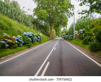 Road of Sao Miguel island, Azores, with sensation of velocity