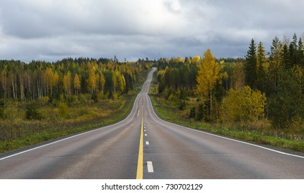 Road scenery in fall colors